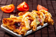 Triangle-cut fried khachapuri with cheese and meat (wuestenigel) Tags: baked cheese background tomato fresh dinner bread dish pie khachapuri plate snack hot tasty hachapuri fried delicious food healthy homemade cuisine meat lunch dough bakery meal yellow pastry kitchen