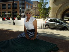 On A Nice Summer Day In 2010 In Downtown Milwaukee (Laurette Victoria) Tags: blouse skirt necklace sunglasses blonde downtown milwaukee laurette woman