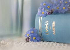 my name is... (Emma Varley) Tags: mynameis smileonsaturday forgetmenot book emma janeausten blue glass cream lace romantic stilllife closeup