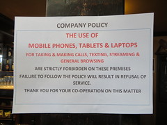 It wasn't all that bad actually! (deltrems) Tags: victoriahotel victoria pub hotel bar inn tavern hostelry house restaurant cleveleys fylde coast lancashire sign notice mobile phone telephone ban samsmith sam smith