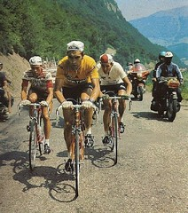 1971 TDF Hanging on in Merckx wheel (Sallanches 1964) Tags: tourdefrance 1971 eddymerckx tourmalet pyrenees mountainstage yellowjersey roadcycling joopzoetemelk lucienvanimpe tourdefrancewinners