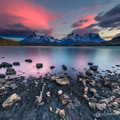 Rock Crumble (Jerzy Orzechowski) Tags: patagonia sunrise chile landscape red water patterns clouds torresdepaine lake reflections orange rocks