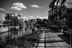 The Mall (digitalmavin) Tags: blackandwhite blackandwhitephotography canon canal bridge clouds cloudscape palmtrees plants shoppingmall shadows highlights contrast urbanscape walkway canalwalk capetown southafrica africa francphotographyza