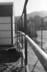 Frosty Morning (squirtiesdad) Tags: frost corral fence morning sun shadows selfdeveloped selfscanned vivitar 220sl super takumar 55mm f18 epson v600 monochrome blackandwhite bw bn bwfp analog analogue arista iso100 35mm film