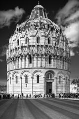 Baptistery - Piazza dei Miracoli, Pisa (Of Light & Lenses) Tags: zuiko2835mmshift sony baptistery taufkirche pisa italy bw schwarzweiss blackwhite olympusom35mm pclens vintage