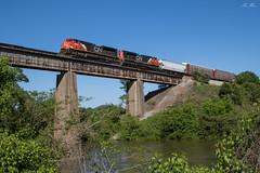 Flying Canadians (travisnewman100) Tags: csx canadian national cn train railroad freight manifest locomotive emd sd70m2 m98226 bridge etowah river wa subdivision atlanta division