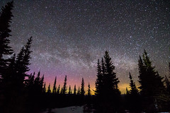 Milky Way Over Windy Joe Mountain (g.beubry) Tags: sky stars milky way aurora northern lights pine tree snow night manning park bc british columbia canada provincial voie lactee aurole boreale