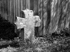 öreg kőkereszt / old stone cross (debreczeniemoke) Tags: erdély transylvania transilvania székelyföld csíkszentmárton sânmartin zenthmárton sanctomartino temető cemetery kereszt cross olympusem5 fekete fehér black white bw