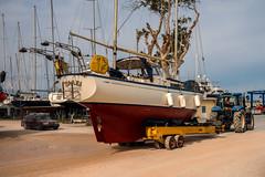 Launch day....... (Dafydd Penguin) Tags: hallberg rassy yacht boat ship vessel sailboat sailing trailor tractor boatyard rasmus preveza cleopatra marina greece ionian sea water marine leica m10 35mm summicron f2