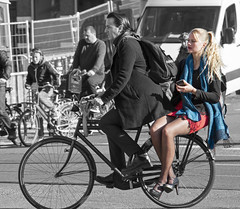 again (Henk Overbeeke Atelier54) Tags: girl street candid bike longhair blond fiets fahrrad vélo bicycle bicicletta nylons miniskirt heels amsterdam