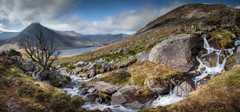 Ogwen valley pano (paullangton) Tags: wales ogwen snowndonia mountain sky clouds river waterfall rocks tree mist pano landscape vista nature water lake llynogwen tryfan valley canon