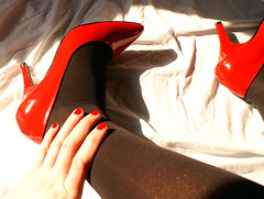 Tights in the sun (colleen_ni00) Tags: cd crossdresser tranny transvestite tights shiny heels patent