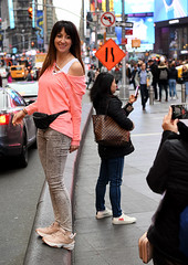 Did You Get It? (Anthony Mark Images) Tags: nyc newyork bigapple manhattan selfies streetphotography smile prettywoman nikeshoes darkhair lovely blackfannypack friend cellphone cellphonephotography timessquare tourists pinktop greyjeans trafficsigns nikon d850 candid flckrclickx