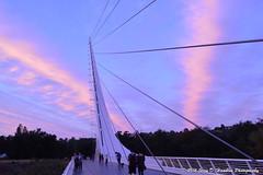 Sundial and sunset and contrails (Jerry Hamblen) Tags: sundialbridge sacramentoriver sacramento river bridge sundial reddingca sunset contrails pink