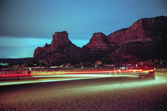 (patrickjoust) Tags: fujica gw690 kodak portra 160 6x9 medium format c41 color negative film rangefinder 90mm f35 fujinon lens cable release tripod long exposure night after dark manual focus analog mechanical patrick joust patirckjoust southwest united states north america estados unidos sedona arizona az red rock bluff butte parking lot car blur light trail streak stream auto automobile moving clouds