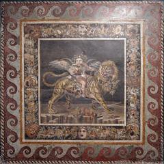 Little Eros-Bacchus on a tiger (kate223332) Tags: pompeii mosaic museum archeology napoli italy eros bacchus casadelfauno houseofthefaun dionysos romanmosaic