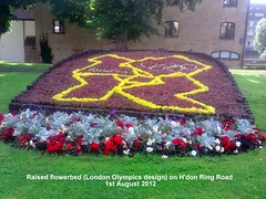 Raised flowerbed (London Olympics design) on H'don Ring Road 1st August 2012 (D@viD_2.011) Tags: raised flowerbed london olympics design hdon ring road 1st august 2012