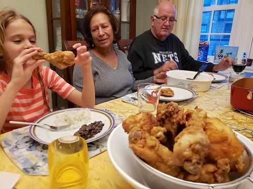 Enjoying My Mom's Fried Chicken