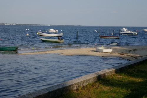 Marée haute, Jane de Boy, presqu'île du Cap Ferret, Bassin d'Arcachon, Gironde, Aquitaine, France.