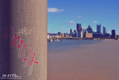 Gritty River View (Hi-Fi Fotos) Tags: pittsburgh three rivers allegheny monongahela ohio water city urban grit graffiti blight rustbelt tag paint vandalism view nikon d5000 dx hififotos hallewell