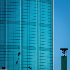 tradition and modernity (fhenkemeyer) Tags: belltower churchtower churchbell reflection blue netherlands rotterdam facade architecture