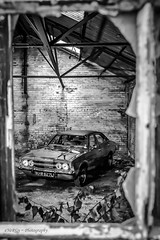 Ford Cortina MK3 GXL (deltic17) Tags: blackwhite monochrome cortina mk3 mk3cortina fordcortina classic classiccar photography moody barn barbfind framed artistic dagenham historic gxl 1972 canon canon5dmk3 canonphotography derelict abandoned ford
