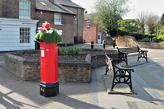 Bench Monday....And a Few Furry Animals On A Post Box (standhisround) Tags: bench seats tring hertfordshire england uk hbm benchmonday postbox buildings walls happybenchmonday redpostbox furryknittedanimals houses