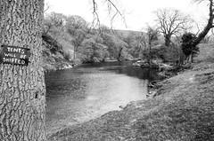 Tent Policy (Richie Rue) Tags: sign notice yorkshire countryside dales river riverbank wharfe monochrome blackandwhite bnw 35mm film analogue foma fomafomapan200 ishootfilm istillshootfilm filmsnotdead nikonf90