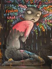 DSCF1634 (Benoit Vellieux) Tags: france auvergnerhônealpes 69 lyon 7èmearrondissement 7thdistrict avenuedebourg halledebourg peinturefraiche festival streetart murpeint paintedwall bemaltemauer mural woman femme weib pluie rain regen coiffureafro afrohairdressing afrofrisur afrohairstyle afraid frightened apeuré ängstlich exposition exhibition ausstellung vinie