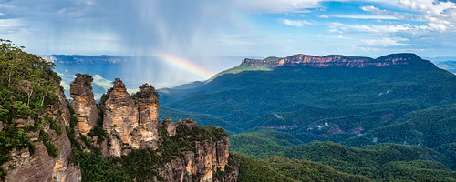 Three Sisters Rainbow and Rain