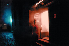 Untitled (elsableda) Tags: leica night neon lights shadow street urban low light lisbon portugal girl