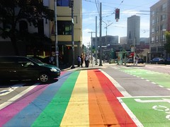 Idunno about you but i'm walking this way (WallisColours) Tags: seattle washington downtown rainbow summer sunny west coast pacific northwest city construction street pnw state