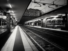 Waiting (tjshot) Tags: monochrome black white railway station passage transit transportation moving people wait waiting genova train