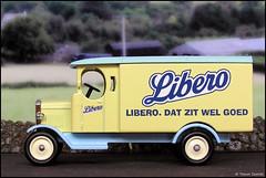 Lledo Classic Cars No. 905 1931 Morris Van in Libero Livery P5210065 (Trevor Durritt) Tags: ©trevordurritt olympuscamediac750uz wwwthegeniescavecouk diecast lledo availablelight model digitalcompactcamera toy diorama libero dutch nappies diapers