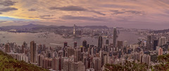 Far into the Distance (Wizard CG) Tags: victoria peak lugard road hong kong sunset morning wide angle panorama cityscape harbour kowloon central skyscrapers high cloudy skyline outdoor sky city olympus epl7