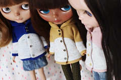 New jackets! (icantdance) Tags: icantdance dollclothes blythe jackets handsewn sheldon aurora adora
