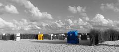 blue & yellow (Jac Hardyy) Tags: blue yellow color colour ocean sea cloud clouds white weis weise sand beach wicker chair roofed strandkörbe meer ozean wolke wolken himmel sky strand blau gelb