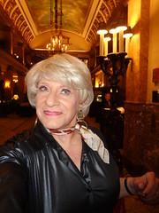 Wow, Look At That Gorgeous Ceiling! (Laurette Victoria) Tags: woman laurette milwaukee lobby pfisterhotel blonde kerchief earrings