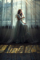Intersections ({jessica drossin}) Tags: jessicadrossin portrait studio window light naturallight face girl dress blue panes shadows floor inside interior wwwjessicadrossincom