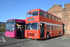 First Potteries 67642 VX54MRY & PMT 604 OEH604M (Will Swain) Tags: gladstone pottery museum during pmt running day 21st october 2018 bus buses transport travel uk britain vehicle vehicles county country england english preserved heritage first potteries 67642 vx54mry 604 oeh604m