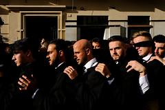 Good Friday Procession, Málaga, Spain (felipe bosolito) Tags: semanasanta holyweek goodfriday procession capirote málaga solemn catholic penanceprocession brotherhood penitents blindfold blindfolded man men black fraternity fuji xpro2 xf1655 velvia