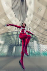 Catch Me If You Can (sdupimages) Tags: heroes spiderman spiderwoman models cosplay costumes marvel shooting portrait woman femme photoshop blur effect speed
