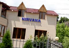 Nirvana (cowyeow) Tags: hotel armenia caucuses restaurant sign funnysign city urban nirvana travel dilijan