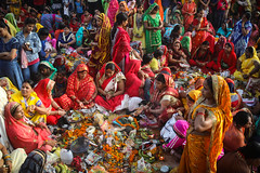 Dedicated to all those who were bothered by my recent mono tendency :- ) (ybiberman) Tags: varanasi india utterpradesh women festival colorful donations crowded people streetphotography documentary candid veil sarry