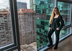 She just adores a penthouse view! (tquist24) Tags: chicago hww illinois nikon nikond5300 wanda beautiful city cute downtown geotagged girl hotel portrait pose pretty skyscraper skyscrapers smile urban view window woman