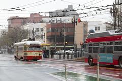 Old & New (imartin92) Tags: sanfrancisco municipal railway california muni pcc detroit streetcar tram trolley railroad bus coach trolleybus transit