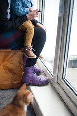 Day 67, Year 12. (evilibby) Tags: 365 36512 365days 365days12 libby arthur mumandson barnabee cat gingercat toddler feet shoe shoes dms drmartens docs floralboots livingroom