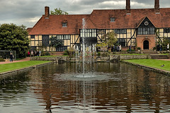RHS Wisley (Croydon Clicker) Tags: fountain water pond fishpond house people sky cloud lawn grass wisley surrey rhs outside