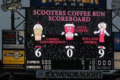 Poor Anita Coffee, never wins (Minda Haas Kuhlmann) Tags: sports outdoors nebraska baseball omaha minorleaguebaseball papillion pacificcoastleague milb sarpycounty omahastormchasers scooterscoffee onfieldpromotions