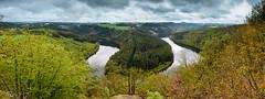 Saaleschleife bei Paska, Thüringen (Uwe Kögler) Tags: germany deutschland thüringen saale saaleschleife paska wald winter schnee rapsblüte rape fluss wolken clouds aussicht viewpoint thuringia felder